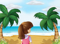 A young lady watching the calm blue sea illustration of Royalty Free Stock Image