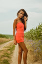 Young lady wearing coral mini dress and necklace Royalty Free Stock Photo