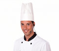 Young latin chef talking on microphone Royalty Free Stock Photo