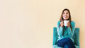 Young latina woman drinking coffee Royalty Free Stock Photo