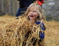 Young laughing girl playing in haystack bunratty castle s halloween celebration ireland october smiling with long blonde hair Royalty Free Stock Image