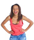 Young laughing mulatto girl portrait of an adorable isolated white backround Royalty Free Stock Image