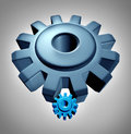 Young leadership leader or apprentice business technology concept with a symbol of an older experienced giant gear or cog teaching Stock Photos