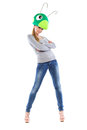 Young leggy woman posing in grasshopper hat isolated on white Stock Images