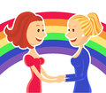 Young lesbian couple of women two on color rainbow vector illustration Stock Photo