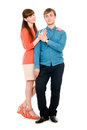 Young love couple in full view isolated on white background Royalty Free Stock Photos
