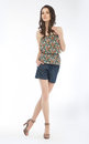 Young lovely slim woman in blouse and shorts Stock Photography