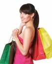 Young lovely woman with shopping bags isolated on white Royalty Free Stock Photography