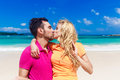 Young loving couple having fun on a tropical beach Royalty Free Stock Photo
