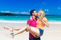 Young loving couple having fun on a tropical beach Stock Image