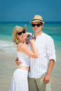 Young loving couple on a tropical beach Stock Photo