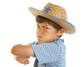 Young mad boy in cowboy hat Royalty Free Stock Image