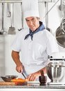 Young male chef cutting carrots portrait of at commercial kitchen counter Stock Photo