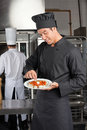 Young male chef garnishing dish colleague background Stock Photography