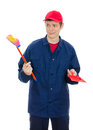 Young male cleaner Royalty Free Stock Photos