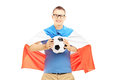 Young male fan holding a soccer ball and flag of holland isolated on white background Stock Images