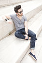Young male fashion model dressed casual Stock Photography