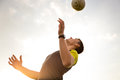 Young, male man playing soccer Royalty Free Stock Photo