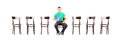 Young male sitting on a chair and waiting for job interview handsome isolated white background Royalty Free Stock Image