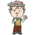 Young male teen pursing his lips closing one eye standing holding fist up air wearing japanese headband blue orange shirt japanese Royalty Free Stock Photography