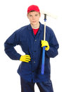 Young male window cleaner Stock Image