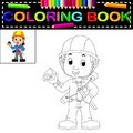 Young man architect coloring book Royalty Free Stock Photo