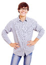 Young man with arms akimbo Stock Photo