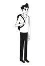 Young man bag stylish outline