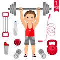 Young man with barbell and set of sports equipme equipment isolated on white background Stock Photos