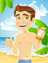 Young man on the beach with cream for sunburn Stock Photo