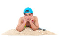 Young man at the beach laying isolated over white background Royalty Free Stock Photo