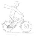 A young man on a bicycle scanned sketch in pencil Stock Images