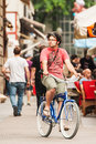 Young man on a bicycle in Zagreb city center Stock Images