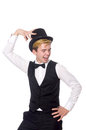 The young man in black classic vest and hat Royalty Free Stock Photo