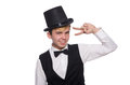 Young man in black classic vest and hat isolated Royalty Free Stock Photo