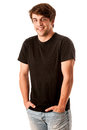 Young man in black tshirt isolated over white background Stock Images