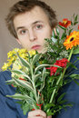 Young man bouquet flowers 2 Royalty Free Stock Images