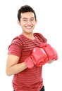 Young man with boxing glove Stock Image