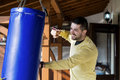 Young man boxing workout outdoor