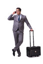 The young man during business travel isolated on white