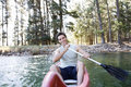 A young man in a canoe Royalty Free Stock Photo