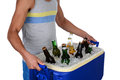 Young man carrying beer cooler closeup of a fit an ice chest full of iis wearing a tank top showing toso only horizontal format Royalty Free Stock Images