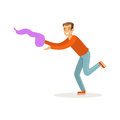 Young man in casual clothes dancing traditional Indian dance colorful character vector Illustration Royalty Free Stock Photo