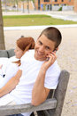Young man on a cell phone Royalty Free Stock Photos
