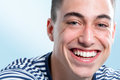 Young man with charming smile extreme close up face shot of and healthy toothy Royalty Free Stock Photos