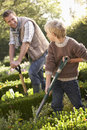 Young man with child working in garden Royalty Free Stock Photo