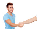 Young man coming to terms with a handshake isolated on white background Royalty Free Stock Images