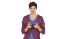 Young man concentrated on video games a white background Royalty Free Stock Photos