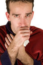Young Man Coughing Stock Images