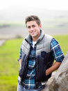 Young man in the country Stock Photography